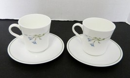 Corelle by Corning Blue Dusk Flat Cups & Saucers Blue Flowers Green Band Two - $14.73