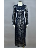 CHANEL Navy Silver Floral Lace Black Meshed Long Maxi Pocketed Dress Siz... - $3,464.99