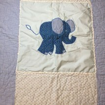 "Elephant Applique Quilt Blue Gingham Crib 40.5"" x 42.5"" - $24.18"
