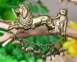 Vintage raining cats and dogs brooch pin poodle scotty umbrella brass thumb155 crop