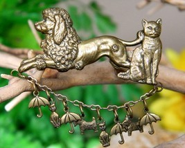 Vintage Raining Cats and Dogs Brooch Pin Poodle Scotty Umbrella Brass - €16,23 EUR