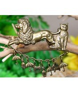 Vintage Raining Cats and Dogs Brooch Pin Poodle Scotty Umbrella Brass - $19.95