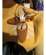 50S  sexy kitten  brown leather tea straps heels by designer D evangelis... - $31.00
