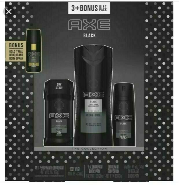 AXE Black 3 Piece + Bonus Gold Deodorant Spray Body Wash Gift Pack Collection