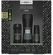 AXE Black 3 Piece + Bonus Gold Deodorant Spray Body Wash Gift Pack Collection image 1