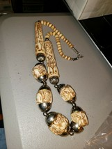 """VINTAGE HAND CARVED BEAD  CARVINGS  25 """"  NECKLACE ELEPHANTS LIONS - $39.60"""