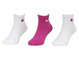 Nike Girls' 3PK Quarter High Socks Pink/White 10C-13C FN0177-A3B - $18.99