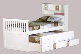 MYCO Furniture 9063-WH Avalon White Twin Captain's Bed with Trundle & Storage