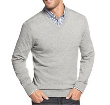John Ashford Mens Sweater Sz XL Light Grey Heather Cotton V-Neck Casual ... - $24.18