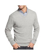 John Ashford Mens Sweater Sz XL Light Grey Heather Cotton V-Neck Casual ... - $32.10 CAD