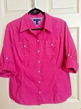 Tommy Hilfiger Women Shirt Top XL Blouse Pink Tab Sleeve Button Down Cotton - $19.09