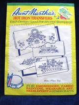 Vintage Aunt Marthas Floral Pillow Slips #3436 Hot Iron Transfer Pattern - $6.76