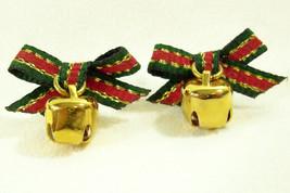 Vintage Avon Xmas Red Green Bow Jingle Bell Dangle Christmas Pierced Ear... - $14.36