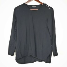 James Perse Womens Blouse 2 M Black Semi Sheer Long Sleeve Button Shoulder  - $34.99