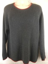 GUESS Jeans Mens Cable Ribbed Knit Chunky Cotton Sweater Ski Gray Red  S... - $48.46