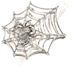 Spider Web Pin Brooch AB Crystal Spiderweb Silvetone Metal Autumn Halloween - $29.99