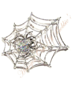 Spider Web Pin Brooch AB Crystal Spiderweb Silvetone Metal Autumn Halloween - $29.99