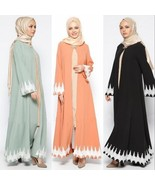 Dubia Style Lace Black Abaya Muslim Islamic Maxi Dress No Hijab - $46.92