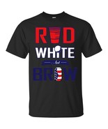 Red, White And Brew Quote Beer Jar USA Flag Design Men T-shirt - $19.80