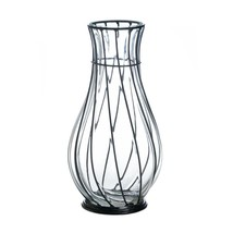 Art Glass Vase, Short Metal Accent Decorative Home Centerpiece Modern Gl... - $34.49
