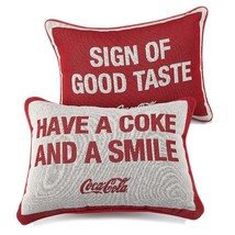"""Coca-Cola Double sided Pillow Sign of Good Taste"""" & """"Have a Coke and a Smile""""  - $20.00"""