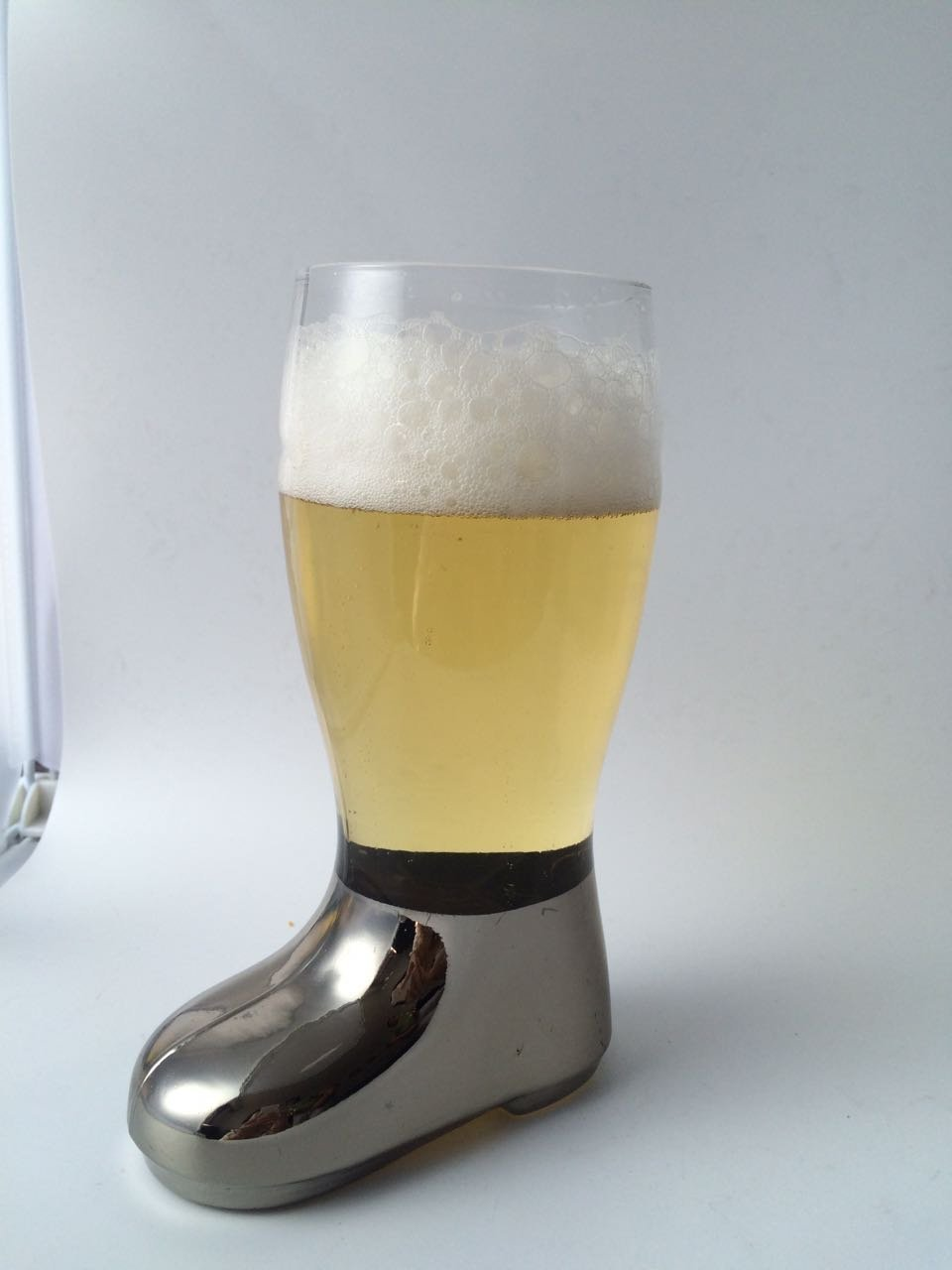 Barraid Beer Boot Glass Silver Eletcroplated 750 ml (Silver)