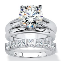 4.12 TCW Platinum Over Silver Cubic Zirconia 3-Piece Solitaire Wedding R... - $63.99
