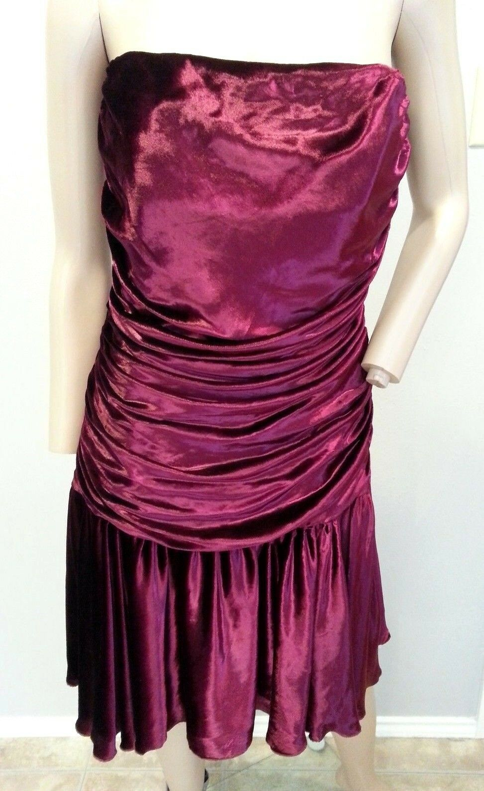 Vintage 27.4ms Betsey Johnson Ny Marron Rouge Foncé Velours Grunge Robe Ruchée 6