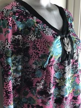 NOTATIONS MULTI-COLORED STRETCH TUNIC STYLE TOP -SIZE S SMALL-BROOCH - $19.79