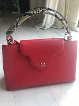 100% Authentic Louis Vuitton CAPUCINES MM Bag Red Taurillon Python image 1