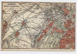 1904 ORIGINAL ANTIQUE MAP OF ASNIERES RUEIL BOUGIVAL NANTERRE / PARIS FR... - $21.78