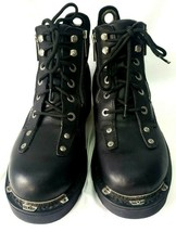"Harley-Davidson Women's Biker Boots 5"" Double Zipper Black Leather Size 9.5 - $120.77"