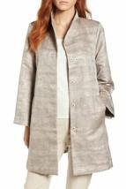 New $478 Eileen Fisher Funnel Neck Silk Blend Jacquard Jacket Coat Size XL - $256.22