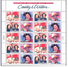 Country and Western Music Legends 29 Cent Sheet of 20 Stamps Scott 2771-... - $8.38
