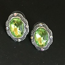 Estate Light Weight Green Oval Plastic Rhinestone in Faux Marcasite Scal... - $13.09