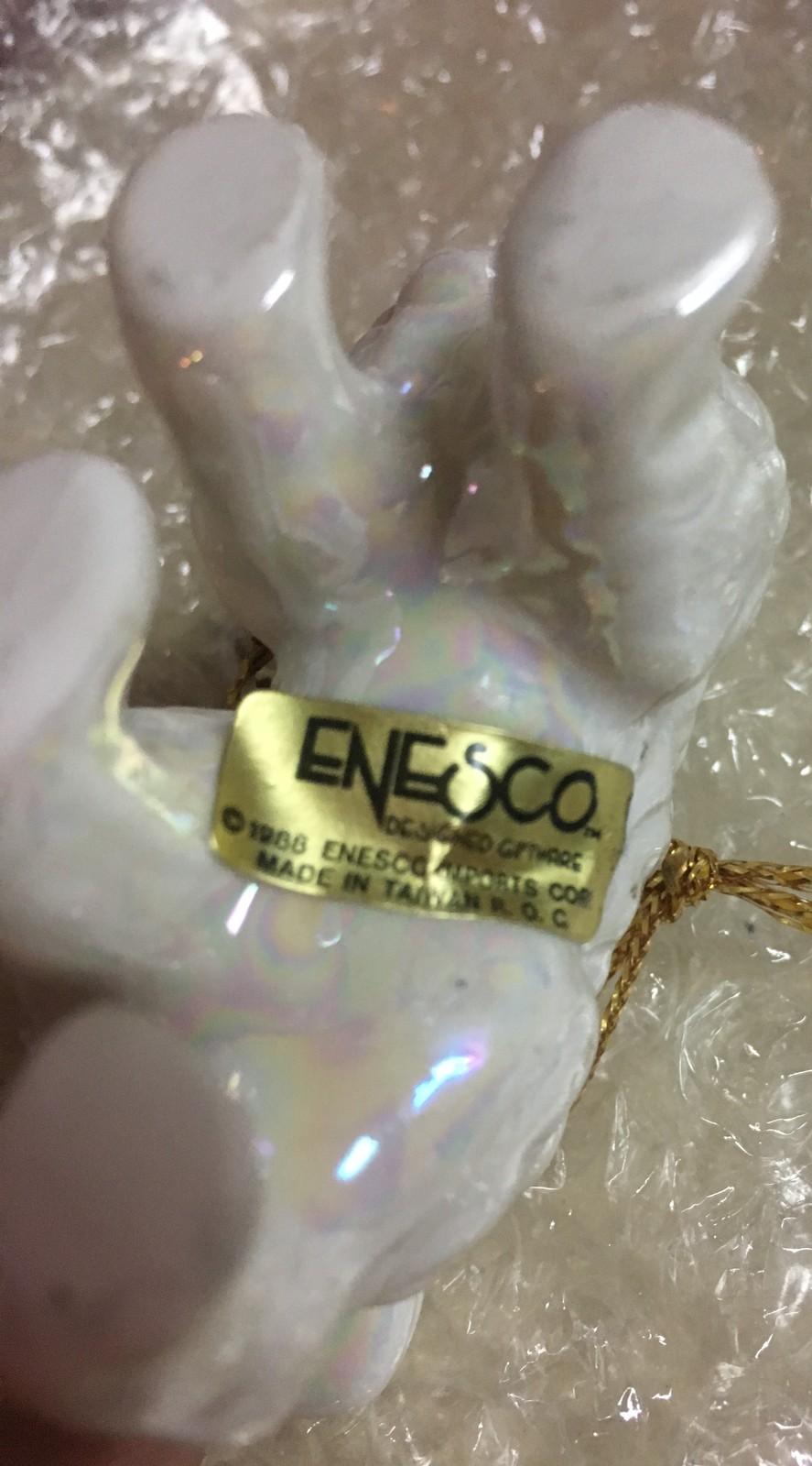 1988 Enesco Kitty Cat Iridescent Ornaments Ceramic