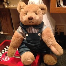 Jumbo 1982 Vintage Jointed Gund Bear Teddy Bear w Blue Denim Overalls Ve... - $39.99