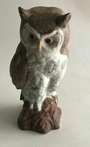 """Vintage Owl on Stomp Ceramic Figurine Statue 7.5""""X 2.5"""" Mid Century Beig... - $10.89"""