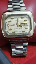 Vintage rare Rado NCC 303 day date Automatic TV 2 tone white dial original band - $269.10