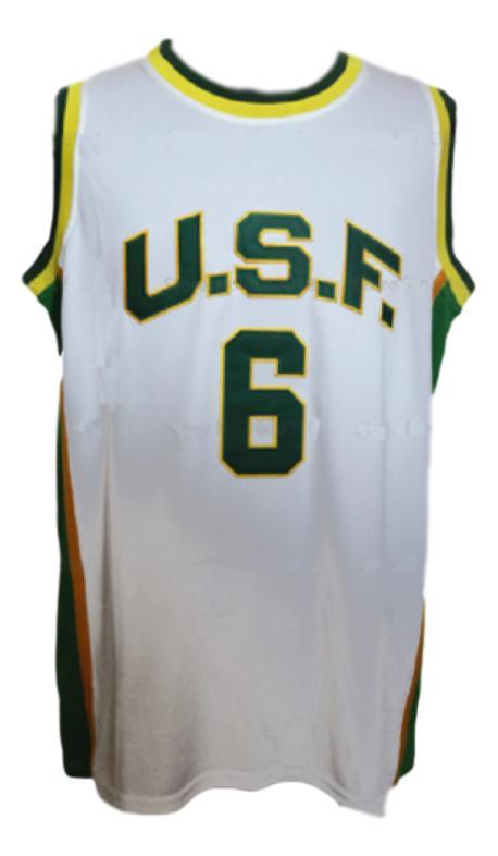 Bill russell  6 college basketball jersey white   1