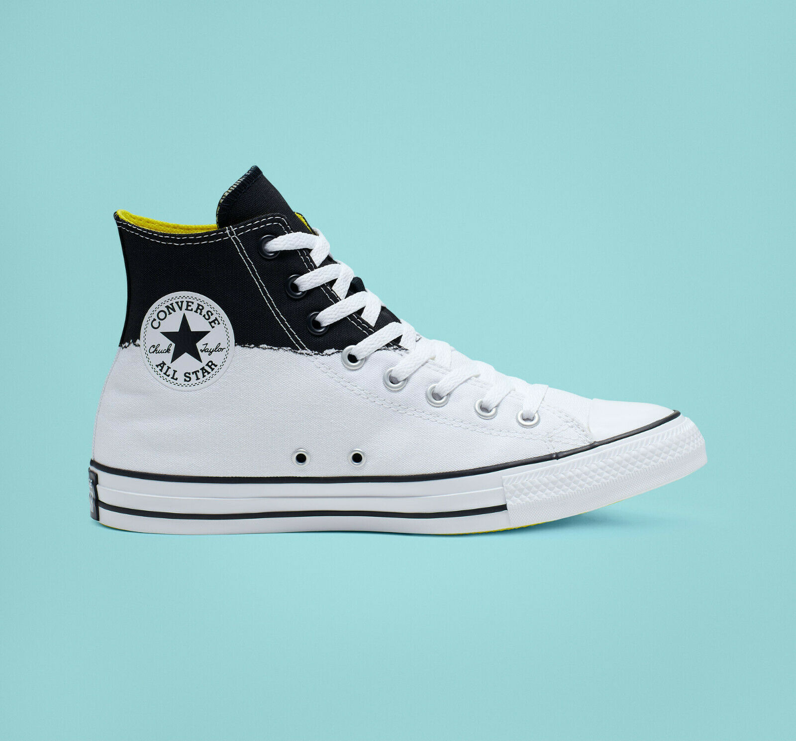 Converse Mens CTAS Hi I Stand For Canvas 165709C White/Black/Fresh Yellow Sz 10 image 2