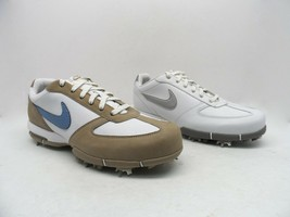 Nike Women's Leather Athletic Golf Shoes White/Metallic Silver & White/T... - $14.99