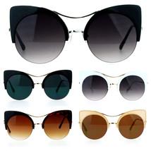 SA106 Retro Half Rim Thick Cat Eye Circle Lens Chic Bat Shape Sunglasses - $12.95