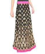 Pink Border Brocade Print Jaipuri Skirt - $25.75