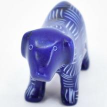 Vaneal Group Hand Carved Kisii Soapstone Dark Blue Standing Puppy Dog Figurine image 2