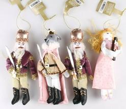 4ct Enchanted Eve Fabric Royal Characters Christmas Ornament Set Wondershop NEW image 2