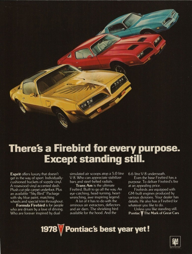 Primary image for 1978 PONTIAC FIREBIRD AD 24 X 36 INCH POSTER | man cave | garage | wall decor |
