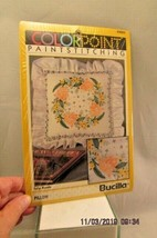 Bucilla 1992 Tulip Rondo Pillow Kit Stamped Colorpoint Paint Stitching #63663  - $12.19