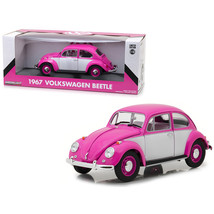 1967 Volkswagen Beetle Right Hand Drive Pink and White 1/18 Diecast Model Car by - $70.74