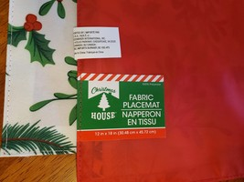 Christmas Placemats, Set of 4 Fabric Place Mats, Holly Mistletoe Red Green White image 4